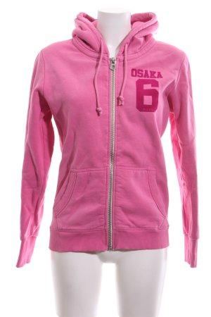 Superdry Sweatjacke pink Schriftzug gedruckt Casual-Look