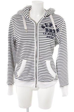 Superdry Veste sweat blanc-bleu foncé motif rayé style décontracté