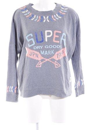 Superdry Sweatshirt grau Schriftzug gedruckt Casual-Look