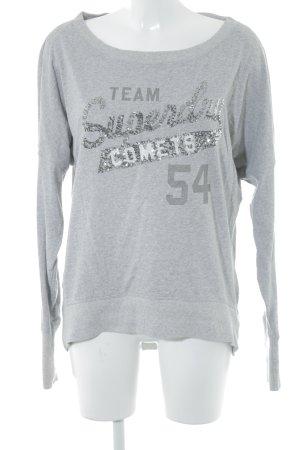 Superdry Sweatshirt hellgrau Schriftzug gedruckt Casual-Look