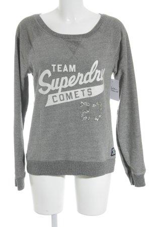 Superdry Sweatshirt hellgrau Schriftzug gedruckt Glitzer-Optik