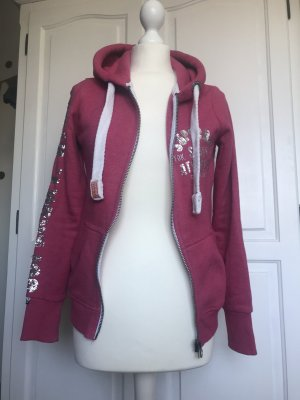 Superdry Sweatshirtjacke Pink mit silbernen Details