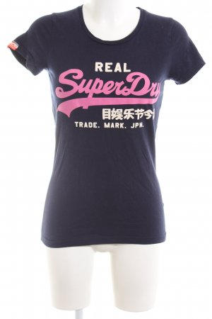 Superdry T-Shirt blau Schriftzug gedruckt Casual-Look