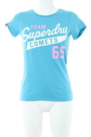 Superdry T-Shirt blau Motivdruck Casual-Look