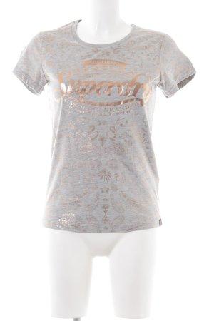 Superdry T-Shirt silberfarben-bronzefarben abstraktes Muster Casual-Look