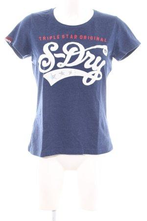 Superdry T-Shirt blau-weiß Schriftzug gedruckt Casual-Look