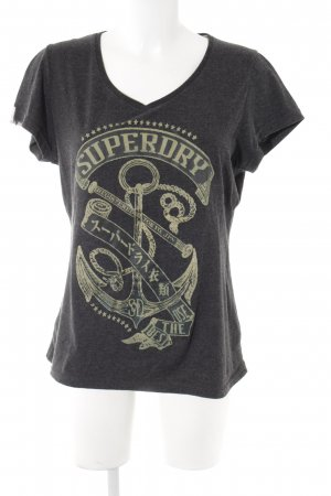 Superdry T-Shirt anthrazit Motivdruck Casual-Look