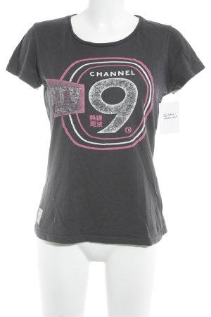 Superdry T-Shirt anthrazit Schriftzug gestickt Casual-Look