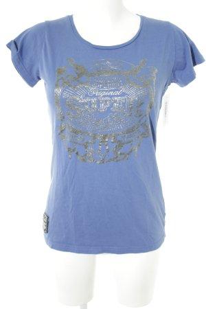 Superdry T-Shirt blau-silberfarben Motivdruck Casual-Look