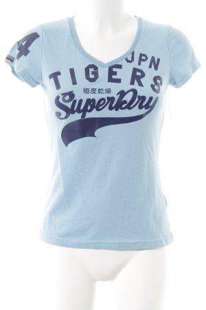 Superdry T-Shirt dunkelblau-kornblumenblau abstraktes Muster Casual-Look