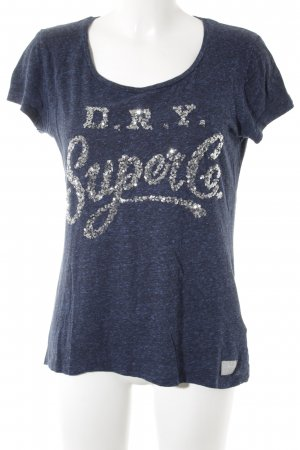 Superdry T-Shirt dunkelblau meliert Casual-Look
