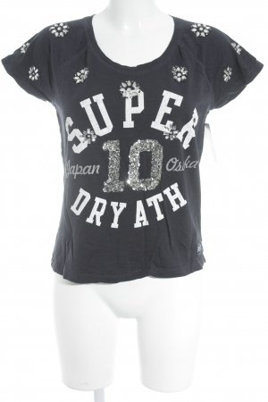 Superdry T-Shirt dunkelblau Schriftzug gedruckt Street-Fashion-Look