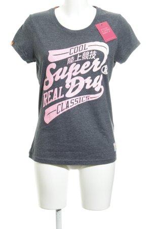 Superdry T-Shirt dunkelgrau-pink Schriftzug gedruckt Street-Fashion-Look