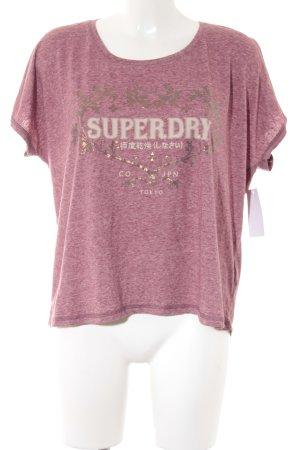 Superdry T-Shirt dunkelrot-weiß meliert Casual-Look