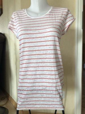 Superdry T-Shirt Gr M Medium Weiß Koral gestreift