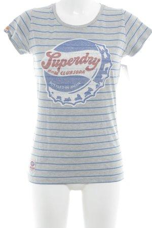 Superdry T-Shirt grau-blau Motivdruck Casual-Look