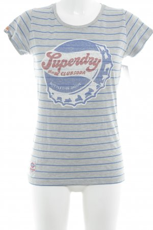 Superdry T-Shirt grau-blau Motivdruck Casual-Look