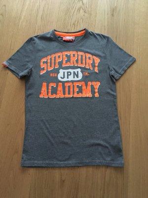 Superdry T-Shirt - grau mit orangen Aufdruck M