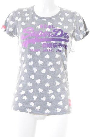 Superdry T-Shirt grau-weiß Herzmuster Casual-Look