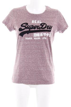 Superdry T-Shirt graulila Schriftzug gedruckt sportlicher Stil