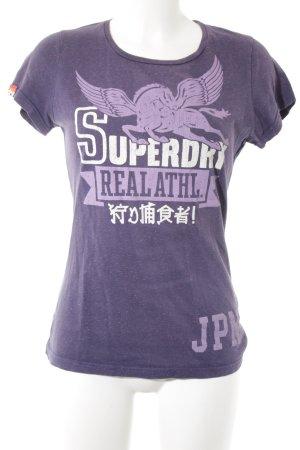 Superdry T-Shirt grauviolett-helllila meliert Casual-Look