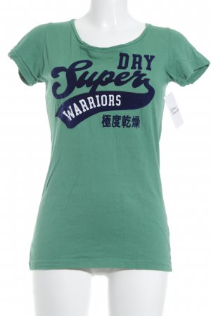 Superdry T-Shirt grün-dunkelblau Schriftzug gedruckt Samt-Optik