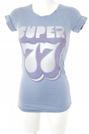 Superdry T-Shirt hellblau Motivdruck Casual-Look