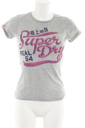 Superdry T-Shirt hellgrau-pink Schriftzug gedruckt sportlicher Stil
