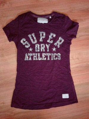 Superdry T-Shirt, Lila mit Palietten, Größe S
