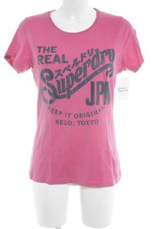 Superdry T-Shirt magenta-dunkelgrau Schriftzug gedruckt Casual-Look