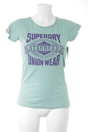 Superdry T-Shirt mint-dunkelblau Motivdruck Casual-Look