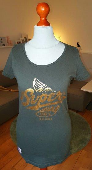 Superdry T-Shirt mit goldenem Logoschriftzug