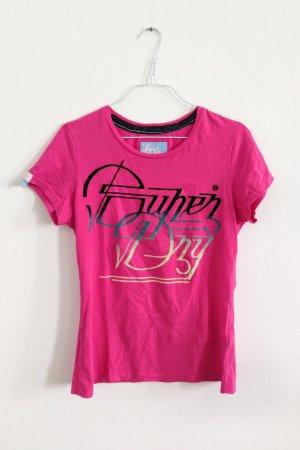 Superdry T-Shirt mit Samt Aufdruck Logo Print pink