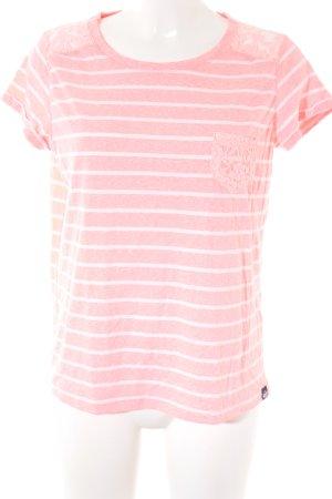 Superdry T-Shirt neonpink-weiß Streifenmuster Casual-Look