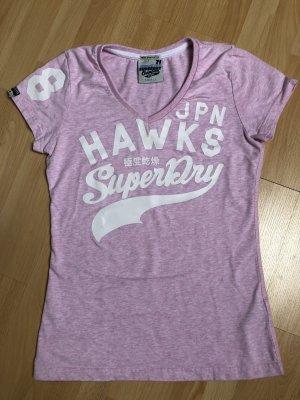 Superdry T-Shirt rosa V-Ausschnitt