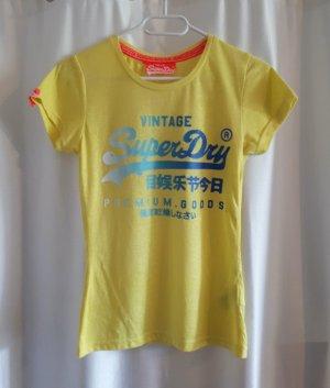 Superdry Camiseta amarillo-amarillo neón tejido mezclado