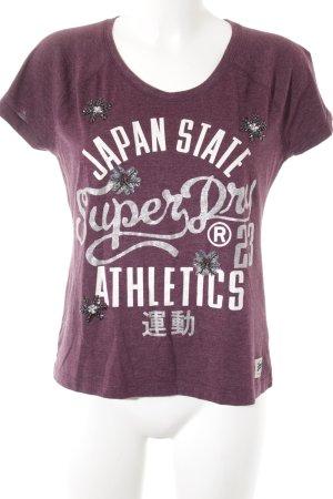 Superdry T-Shirt violett Schriftzug gedruckt Casual-Look