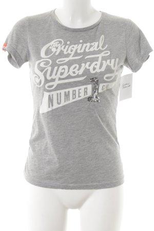 Superdry T-Shirt weiß-hellgrau abstrakter Druck Casual-Look