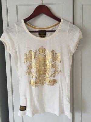 Superdry T-Shirt, weiss mit goldenem Aufdruck
