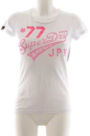 Superdry T-Shirt weiß-pink platzierter Druck Casual-Look