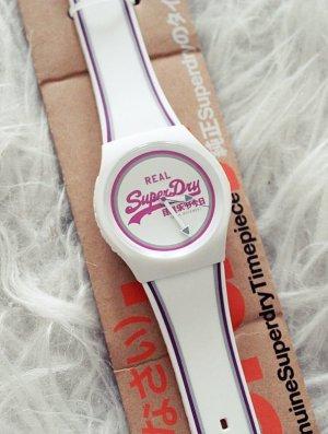 Superdry Reloj analógico blanco-rosa neón