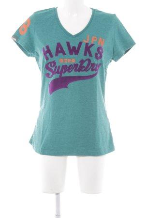 Superdry V-Ausschnitt-Shirt Schriftzug gedruckt sportlicher Stil