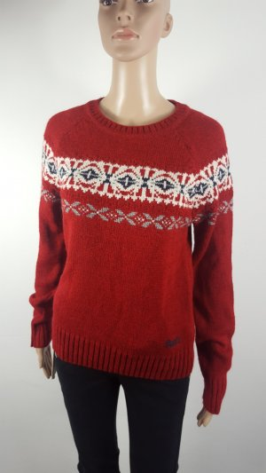 Superdry Vintage Strickpullover Norwegerpullover Pulli rot Nordic Knit Größe M