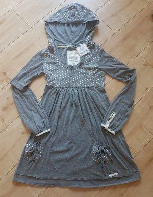 Superdry Vestido de tela de sudadera color plata-blanco Algodón