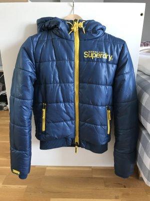 Superdry warme kuschelige Jacke in blau/gelb in gr S