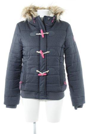 Superdry Winterjacke graublau-neonpink Casual-Look