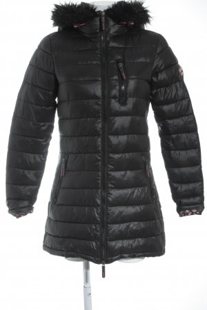 Superdry Winterjacke schwarz-pink Steppmuster Casual-Look
