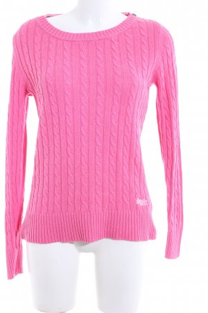 Superdry Zopfpullover pink Zopfmuster Casual-Look