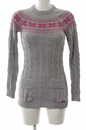 Superdry Cable Sweater light grey-red cable stitch casual look