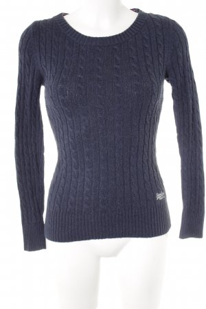 Superdry Cable Sweater dark blue cable stitch casual look